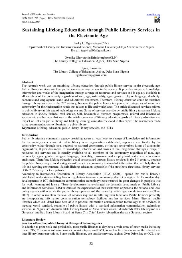 Journal of Education and Practice www.iiste.org ISSN 2222-1735 (Paper) ISSN 2222-288X (Online) Vol.5, No.22, 2014 22 Susta...
