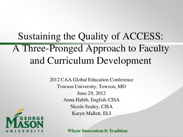 CAA 2012 Sustaining the Quality of ACCESS