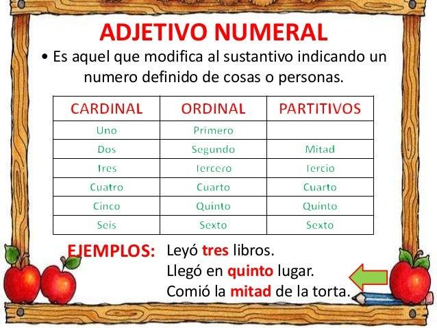 grammaire contrastive adjetivos numerales On habitacion que es sustantivo verbo o adjetivo