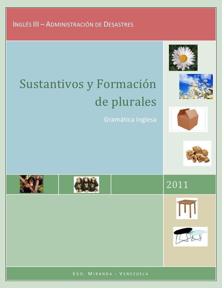 Inglés III – Administración de Desastres2011Sustantivos y Formación de pluralesGramática InglesaEdo. Miranda - Venezuela49...