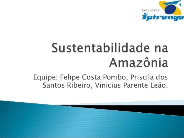 Equipe: Felipe Costa Pombo, Priscila dos Santos Ribeiro, Vinicius Parente Leão.