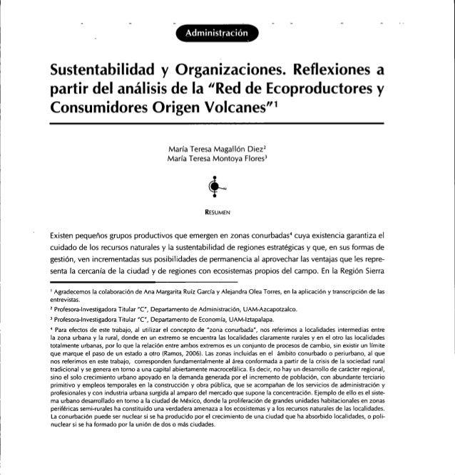 AdministraciónSustentabilidad y Organizaciones. Reflexiones apartir del análisis de la ^Red de Ecoproductores yConsumidore...