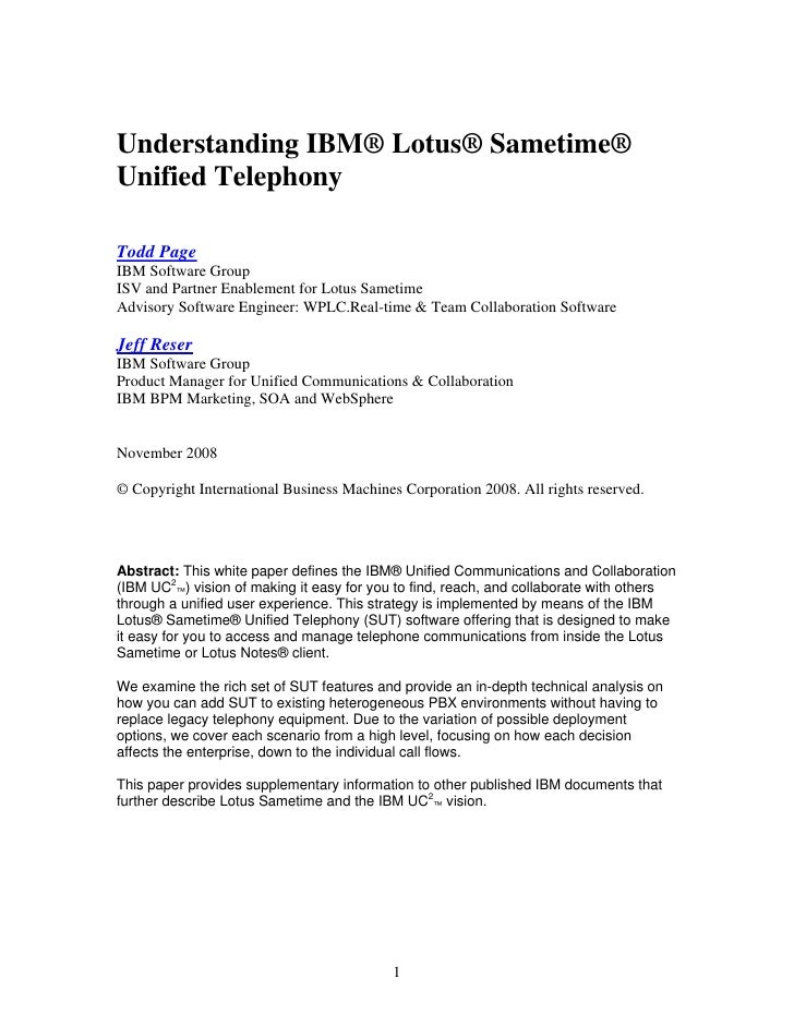 Whitepaper: Understanding IBM Lotus Sametime and Unified Telephony