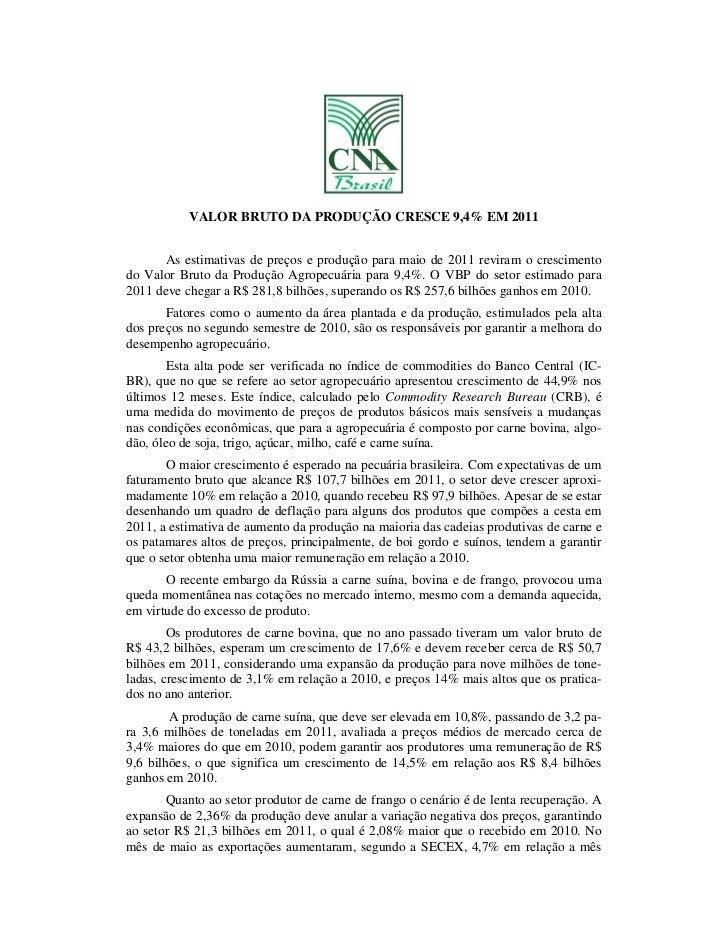 CNA - VALOR BRUTO DA PRODUÇÃO CRESCE 9,4% EM 2011