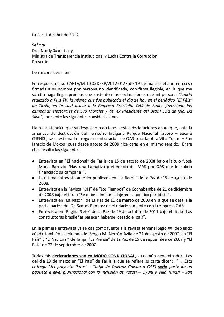 La Paz, 1 de abril de 2012SeñoraDra. Nardy Suxo IturryMinistra de Transparencia Institucional y Lucha Contra la Corrupción...