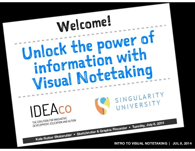 INTRO TO VISUAL NOTETAKING | JUL 8, 2014 Unlock the power of information with Visual Notetaking Welcome! Kate Rutter @kate...