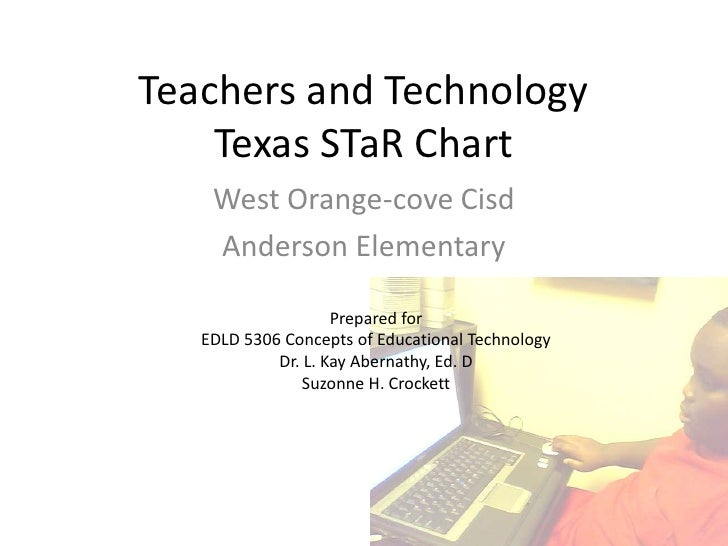 Teachers and TechnologyTexas STaR Chart<br />West Orange-cove Cisd<br />Anderson Elementary<br />Prepared for<br />EDLD 53...