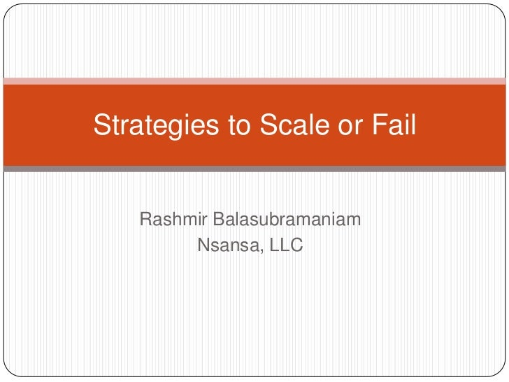 SV-12 Strategies to Scale or Fail