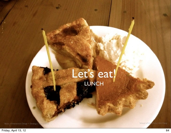 Let's eat!                                                            LUNCH  Basics of Interaction Design + Strategy | Spr...