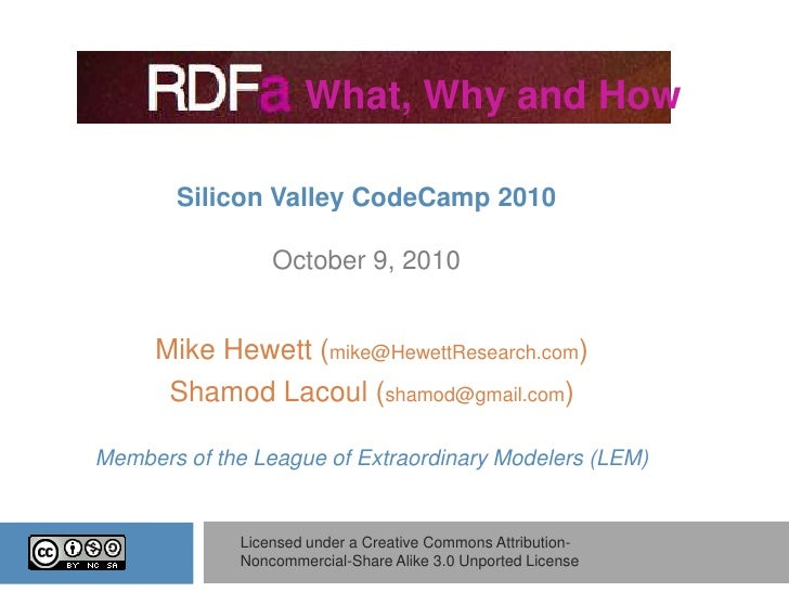 """""""RDFa - what, why and how?"""" by Mike Hewett and Shamod Lacoul"""