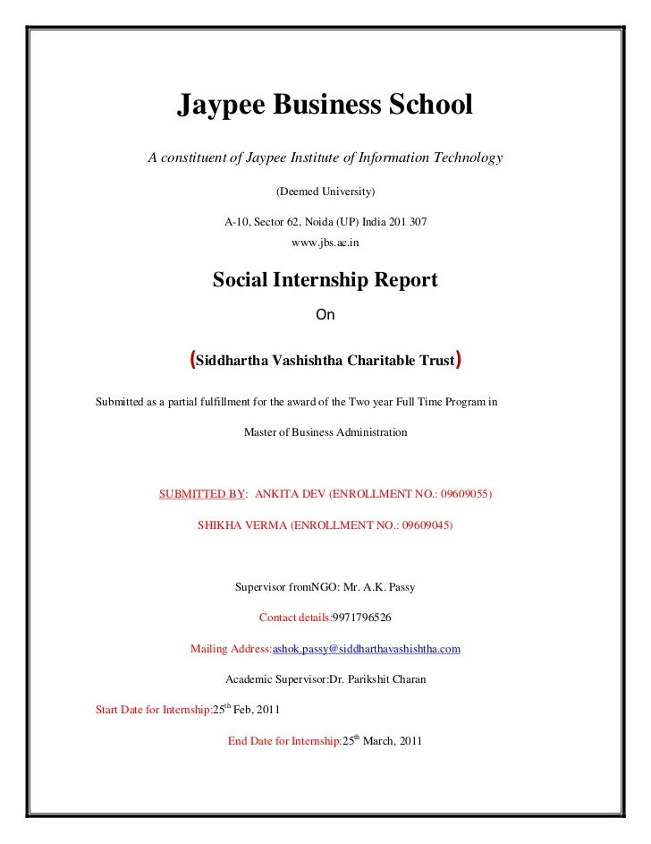 Social Internship Report By Jbs 2009 2011 On Svct