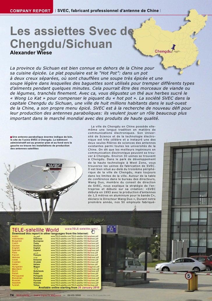 COMPANY REPORT                           SVEC, fabricant professionnel d'antenne de Chine     Les assiettes Svec de Chengd...