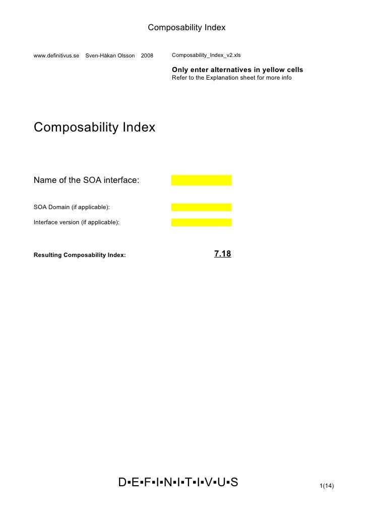 Composability Index   www.definitivus.se   Sven-Håkan Olsson   2008   Composability_Index_v2.xls                          ...