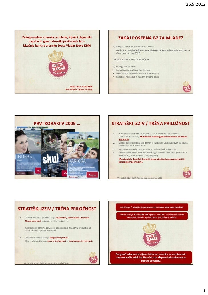 25.9.2012     Zakaj posebna znamka za mlade, ključni dejavniki                                    ZAKAJ POSEBNA BZ ZA MLAD...