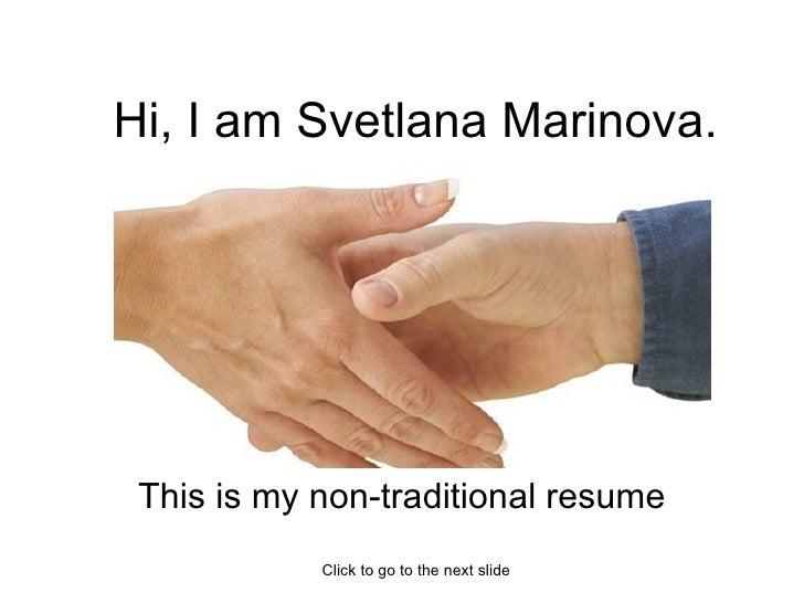 Svetlana Marinova Non-traditional resume