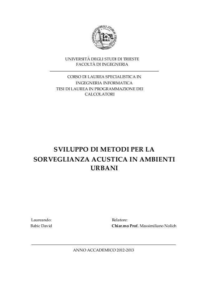 Sviluppo di metodi per la sorveglianza acustica in ambienti urbani