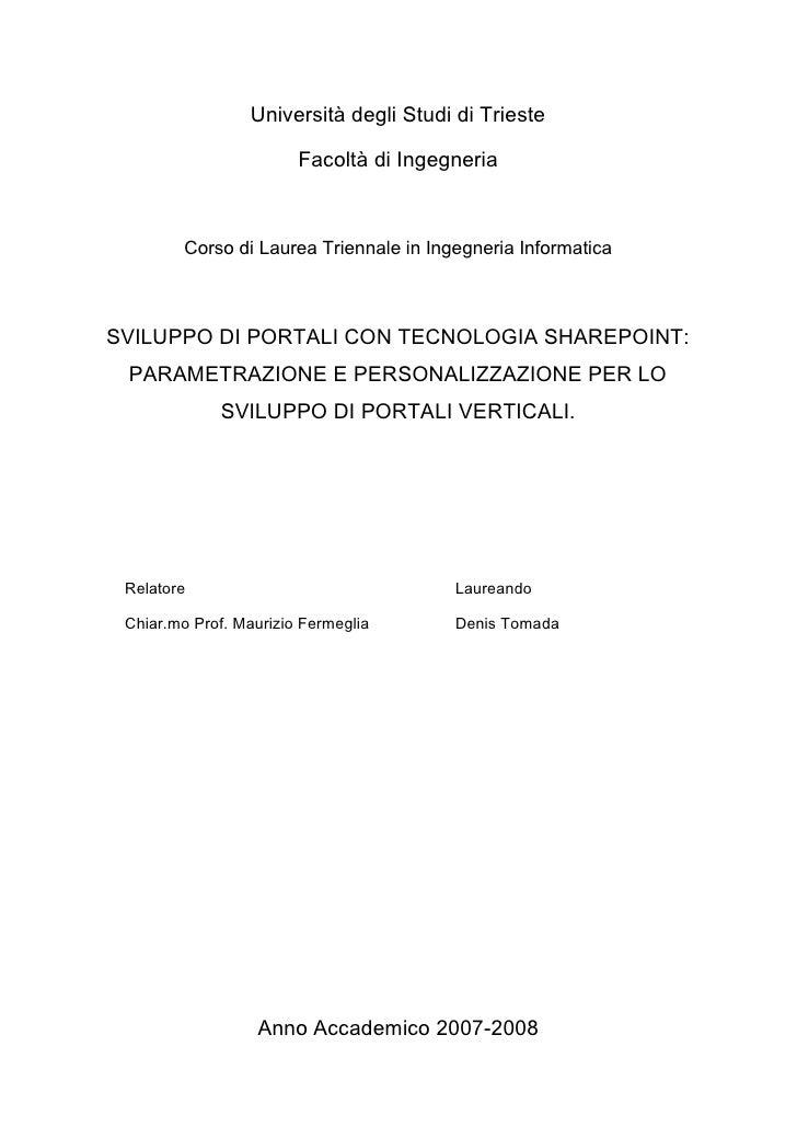 Sviluppo Di Portali Tramite La Tecnologia Sharepoint