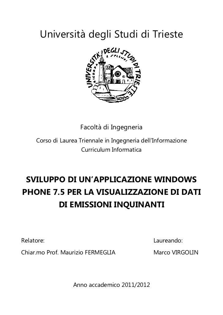 Sviluppo di un'applicazione windows phone 7.5 per la visualizzazione di dati di emissioni inquinanti