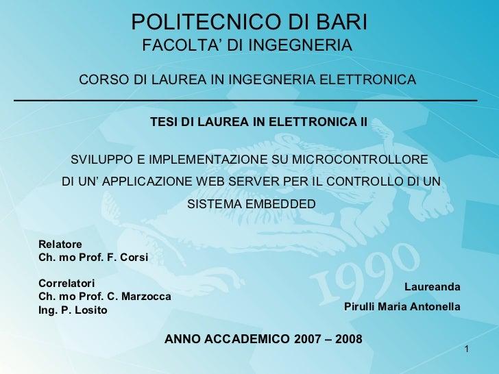 Sviluppo e implementazione su microcontrollore di un'applicazione web server per il controllo di un sistema embedded
