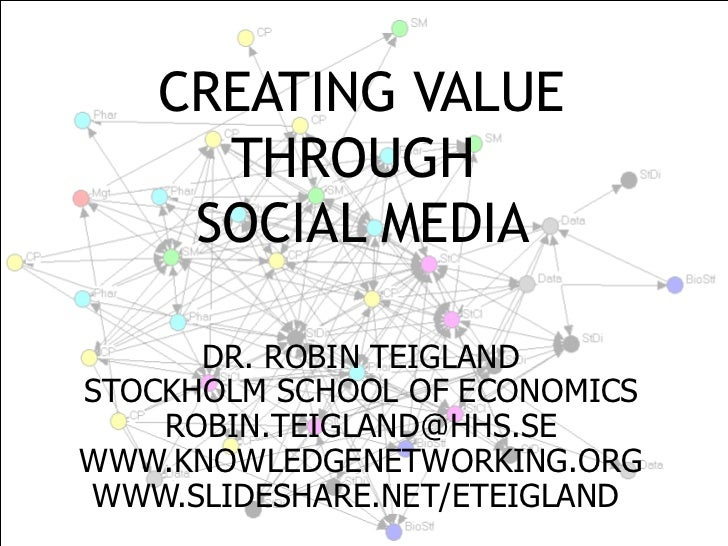 CREATING VALUE THROUGH   SOCIAL MEDIA  DR. ROBIN TEIGLAND STOCKHOLM SCHOOL OF ECONOMICS [email_address] WWW.KNOWLEDGENETWO...