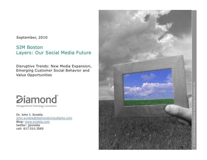 September, 2010  SIM Boston Layers: Our Social Media Future  Disruptive Trends: New Media Expansion, Emerging Customer Soc...