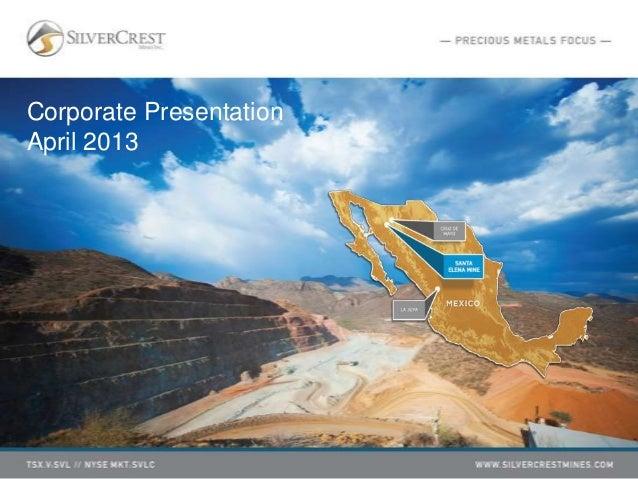 Corporate PresentationApril 2013