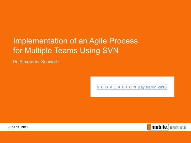 Implementation of an Agile Process    for Multiple Teams Using SVN    Dr. Alexander Schwartz     June 11, 2010