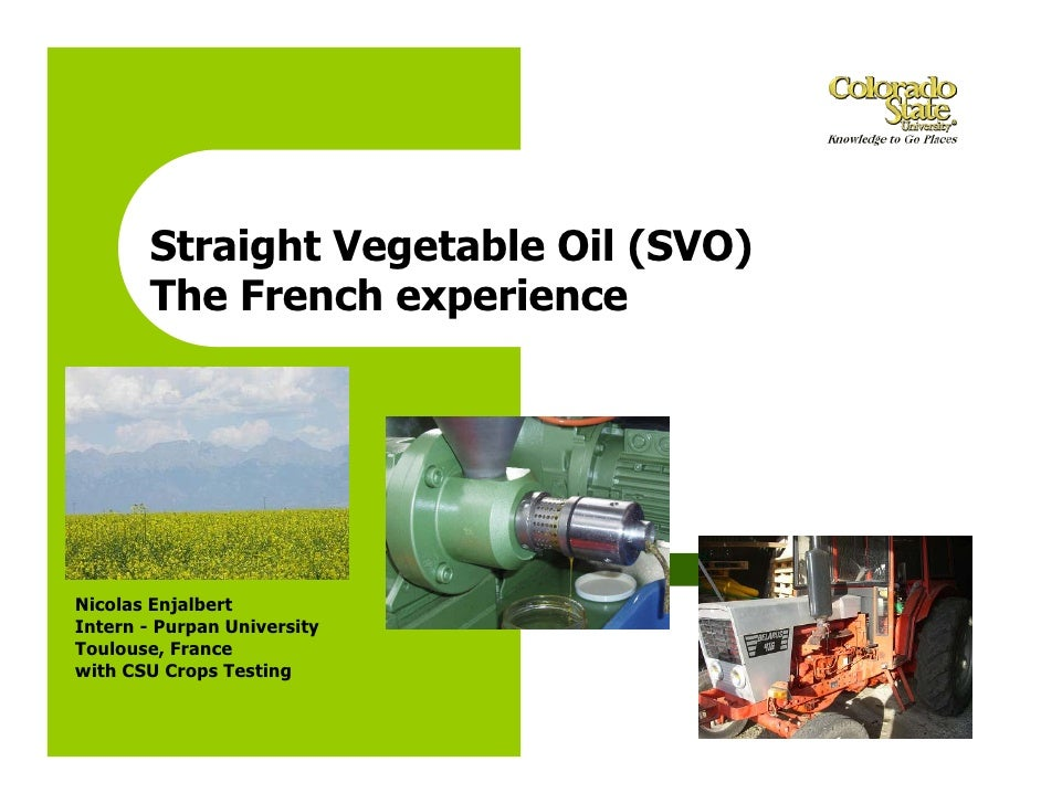 Straight Vegetable Oil: The French Experience