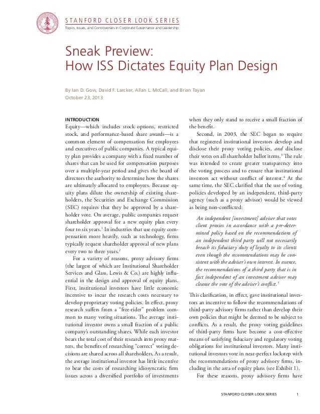 CGRP37 -- Sneak Preview: How ISS Dictates Equity Plan Design