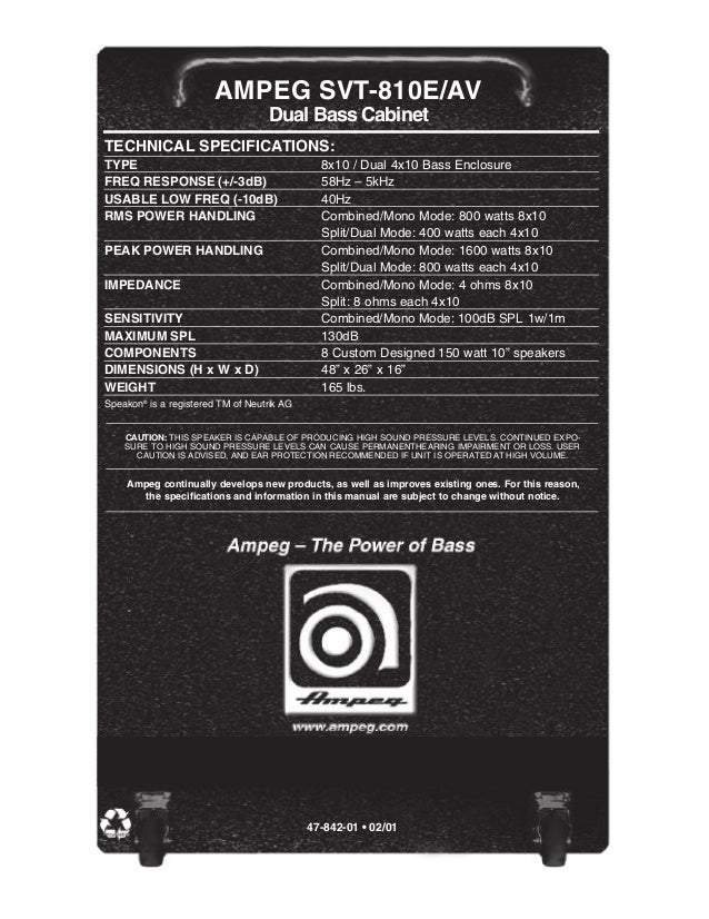 Ampeg Svt Ampeg Svt-810e/av Dual Bass