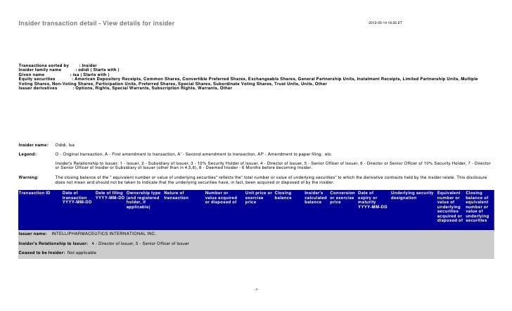 Insider transaction detail - View details for insider                                                                     ...