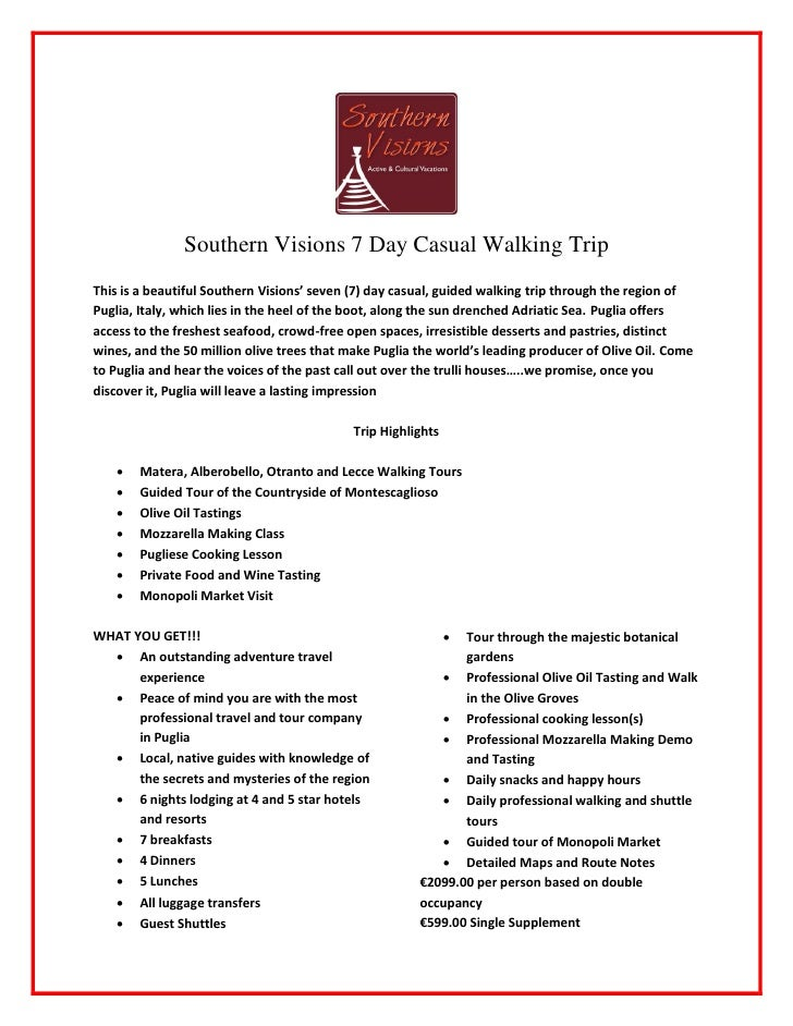 SV Puglia 7 Day Casual Guided Walking v1.0