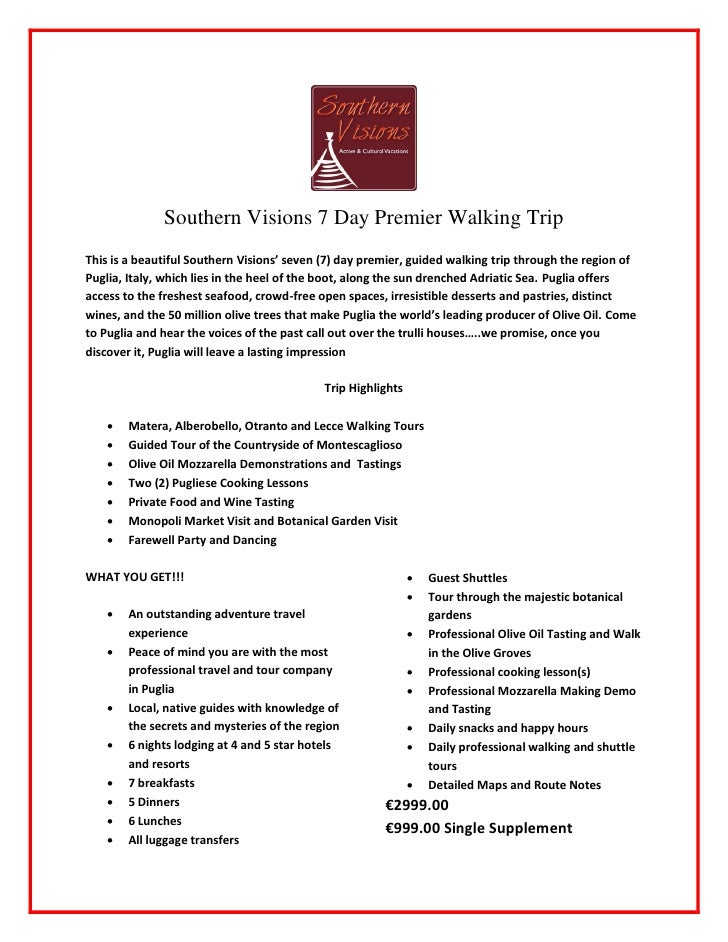 SV Puglia 7 Day Premier Guided Walking v1.0