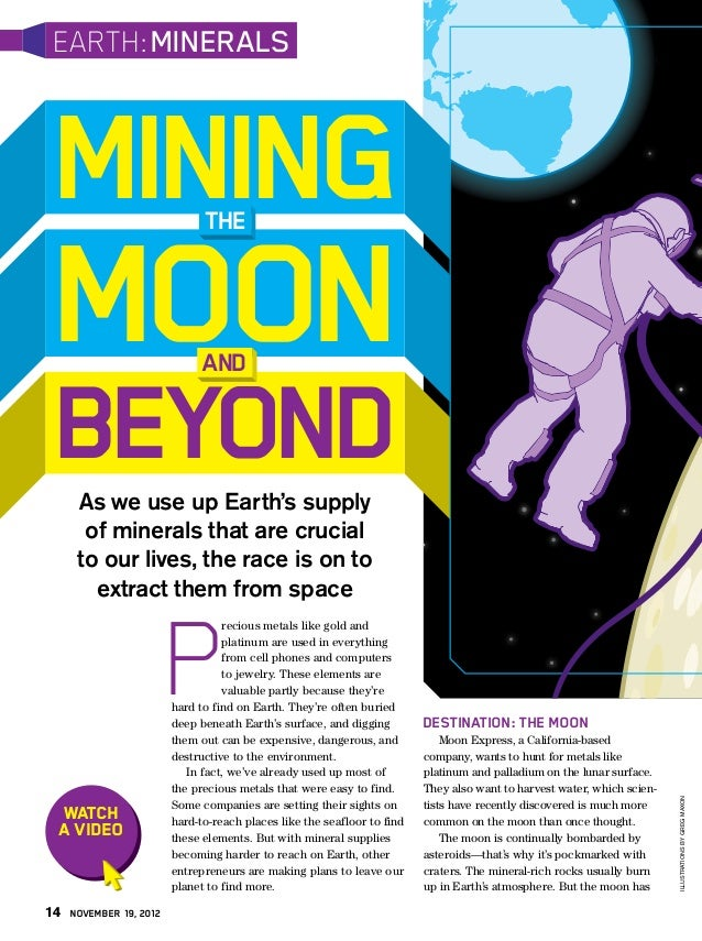 EARTH: MINERALS MINING                        THE MOON                          AND BEYOND      As we use up Earth's suppl...