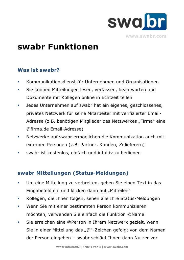 www.swabr.comswabr FunktionenWas ist swabr?   Kommunikationsdienst für Unternehmen und Organisationen   Sie können Mitte...