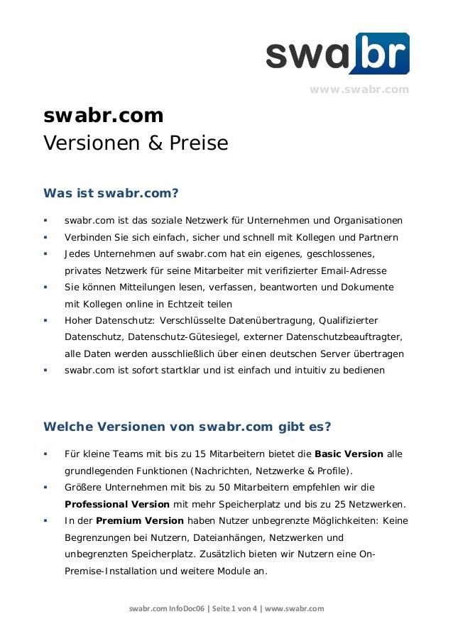 swabr.com InfoDoc06 | Seite 1 von 4 | www.swabr.com www.swabr.com swabr.com Versionen & Preise Was ist swabr.com?  swabr....