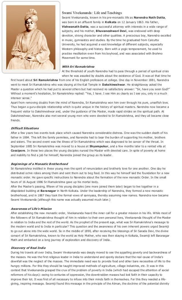 Swami Vivekananda : Life and Teachings                                         Swami Vivekananda, known in his pre-monasti...