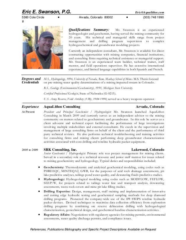 Hydrogeologist resume