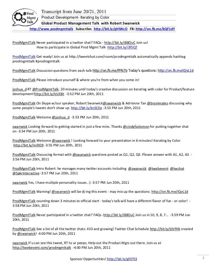 Transcript from June 20/21, 2011                   Product Development- Iterating by Color                   Global Produc...