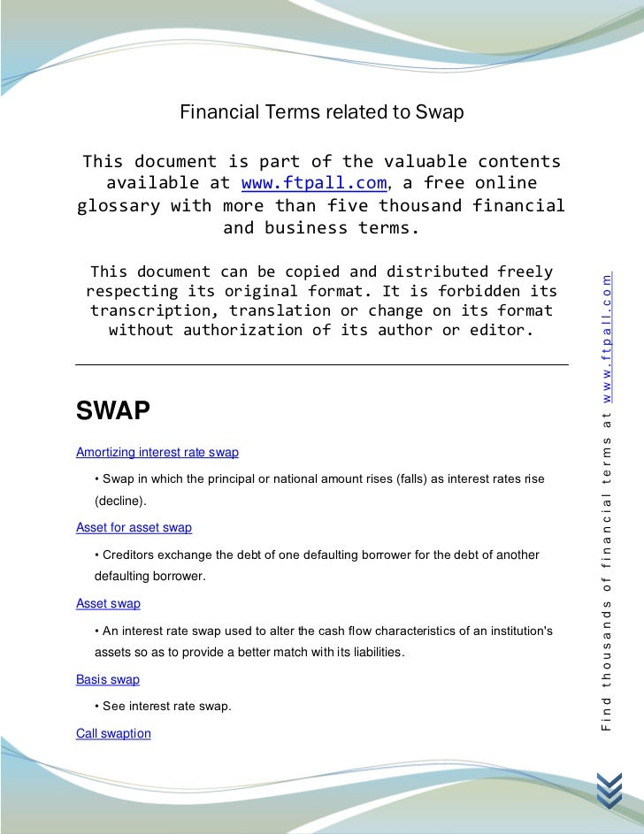 Financial Terms related to Swap This document is part of the valuable contents   available at www.ftpall.com, a free onlin...
