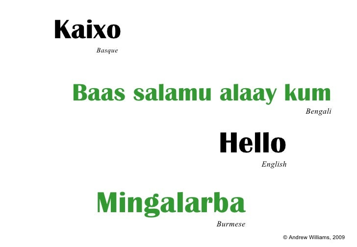 <ul><li>Kaixo Basque   </li></ul>Mingalarba Burmese Hello English Baas salamu alaay kum Bengali