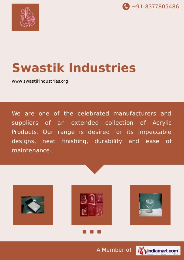 +91-8377805486 A Member of Swastik Industries www.swastikindustries.org We are one of the celebrated manufacturers and sup...