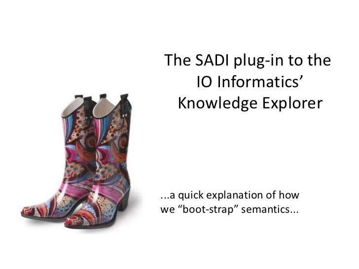 "The SADI plug-in to the    IO Informatics' Knowledge Explorer...a quick explanation of howwe ""boot-strap"" semantics..."
