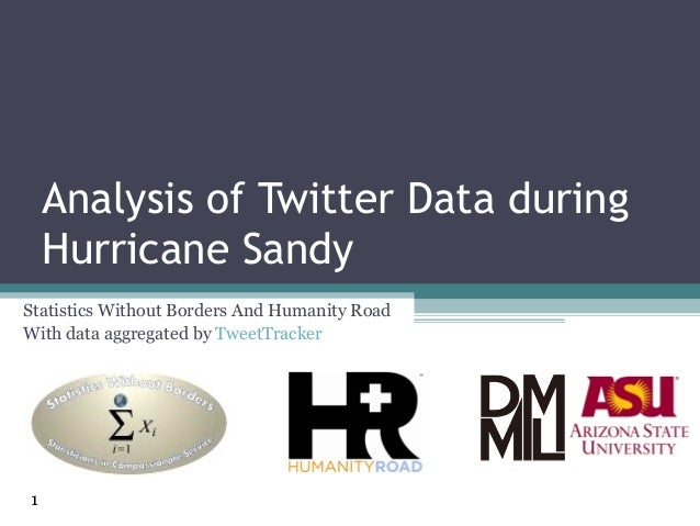 Analysis of Twitter Data during    Hurricane SandyStatistics Without Borders And Humanity RoadWith data aggregated by Twee...