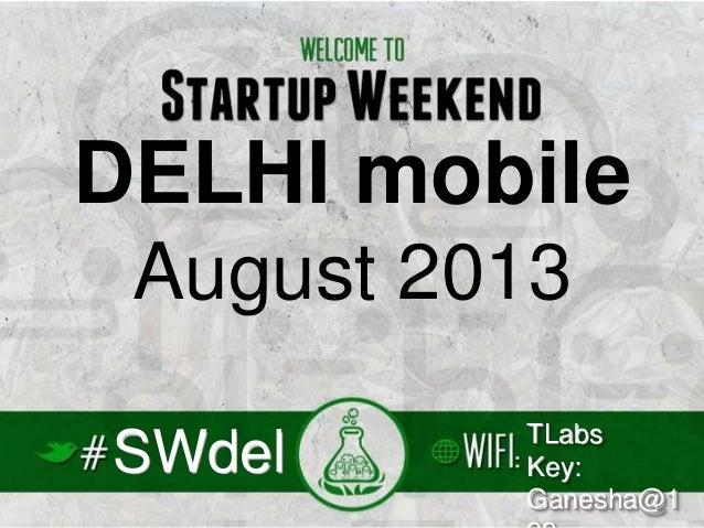 StartupWeekend Delhi Mobile August 2013