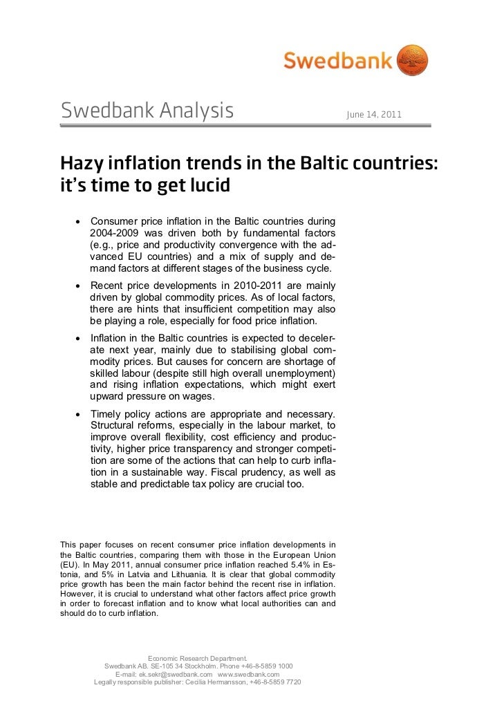 Swedbank Analysis                                                             June 14, 2011Hazy inflation trends in the Ba...