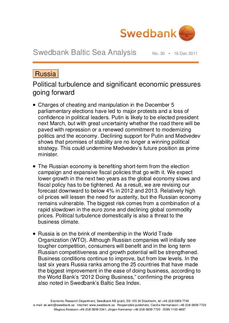 Swedbank Baltic Sea Analysis                                                   No. 30  16 Dec 2011 RussiaPolitical turbul...