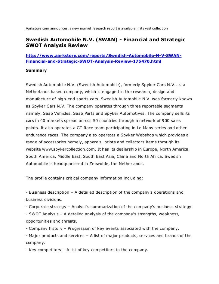 Swedish automobile n.v. (swan)   financial and strategic swot analysis review