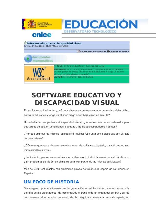 Sw educativo y discapacidad visual