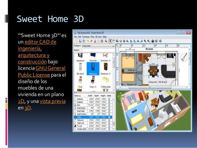 """Sweet Home 3D""""Sweet Home 3D"""" esun editor CAD deingeniería,arquitectura yconstrucción bajolicencia GNU GeneralPublic Licens..."""